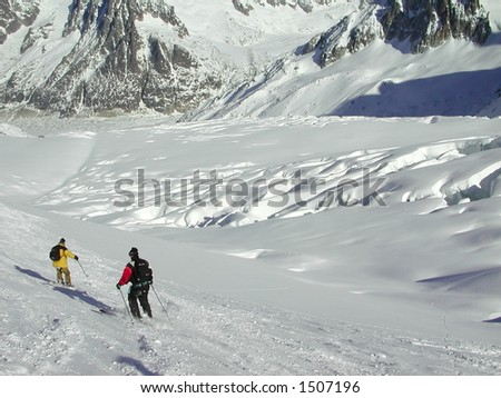 Snowboarder on the Vallee Blanche
