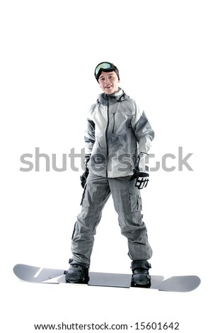 Snowboarder posing in his board, isolated - stock photo