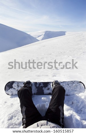 Snowboarder sitting on snow in high mountains