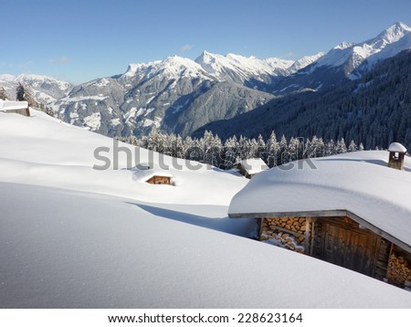 snowbound ski lodge - stock photo