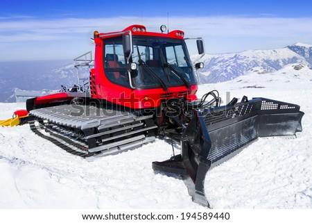 Snowcat, machine for snow removal, preparation ski trails - stock photo