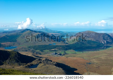 Snowdonia National Park, view from Mount Snowdon, Wales, UK - stock photo