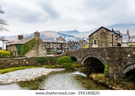 SNOWDONIA, WALES: 22nd March 2016 - Scenic view of old city in Snowdonia, UK.