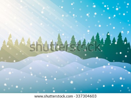 Snowdrifts on the background of trees and falling snow.