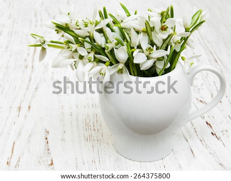snowdrops in vase on a wooden background - stock photo