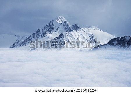 snowed mountain's top over white clouds, Leh Ladakh, India