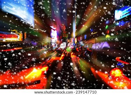 Snowfall. Illumination and night lights of New York City. Intentional motion blur - stock photo