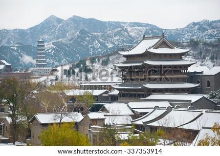 Snowfall in China - stock photo