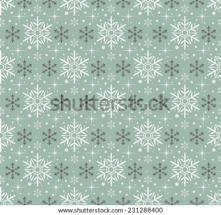 Snowflake Abstract Background. Seamless wallpaper. Retro