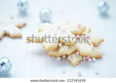 Snowflake cookies for Christmas - stock photo