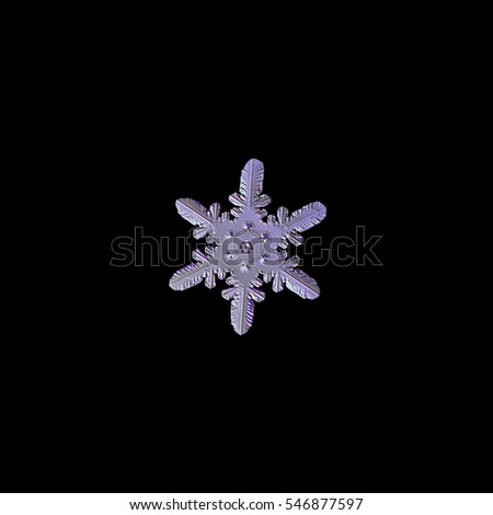 Snowflake isolated on black background: macro photo of real snow crystal, captured on glass. This snowflake have rare pattern of heart-like elements, connected to central hexagon. Pink processing.