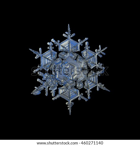 Snowflake isolated on black background. This is macro photo of real snow crystal: big split plate / stellar dendrite with complex inner structure. Cold lighting with white and blue reflects on grey.