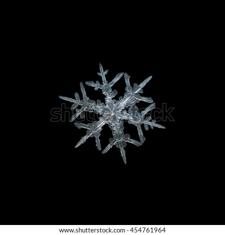 Snowflake isolated on black background. This is macro photo of real snow crystal: small stellar dendrite with bright center and ornate arms with side branches.  - stock photo