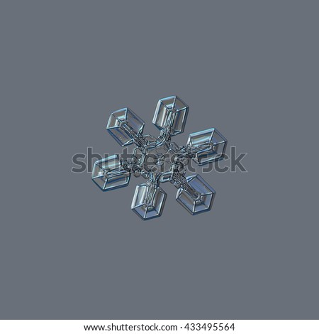 Snowflake isolated on grey background: real photo of medium size snow crystal (around 3 millimeters from tip to tip), resembling duck feet, sparkling on bright gray background. - stock photo