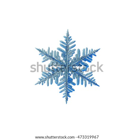 Snowflake isolated on white background. This is macro photo of real snow crystal: large fernlike dendrite with good symmetry and complex structure.