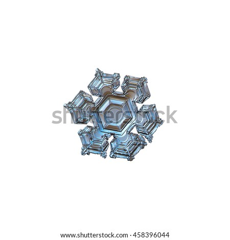 Snowflake isolated on white background. This is macro photo of real snow crystal with glossy surface, relief central hexagon and broad arms.