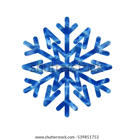 Snowflake mosaic icon. Blue silhouette snow flake sign isolated white background. Flat design. Symbol winter, frozen, Christmas, New Year holiday. Graphic element decoration. illustration