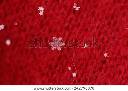 Snowflake on a red scarf - stock photo