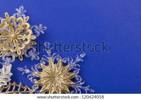 Snowflake on blue background - stock photo
