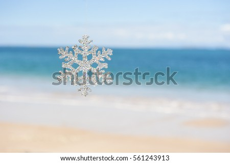 Snowflake ornament with a beach and ocean background