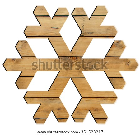 Snowflake shape decoration made wood tree isolated on white