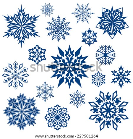 Snowflake shapes collection isolated on white.  - stock photo