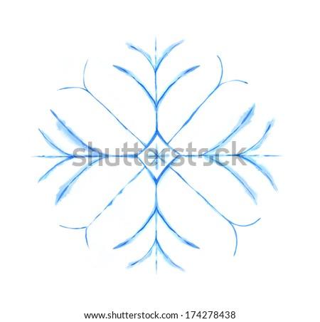 Snowflake. Watercolor painting. - stock photo