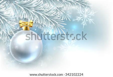 Snowflakes and Christmas tree bauble decoration ornament winter design background. - stock photo