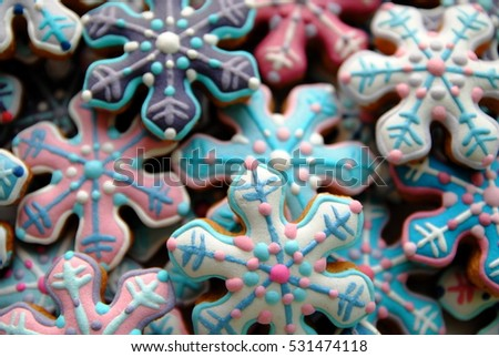 Snowflakes , Christmas cookies  , Gingerbread , Star shaped