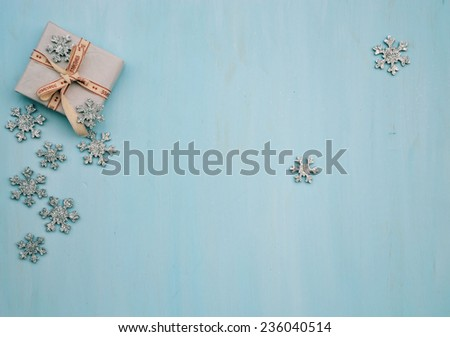 snowflakes , gift - stock photo