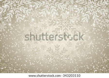 Snowflakes on golden background - Christmas background - stock photo