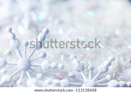 snowflakes on twinkled background space for text - stock photo