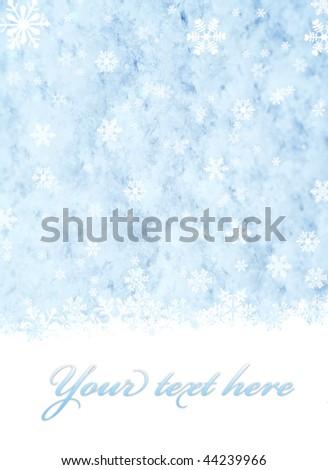 Snowflakes over blue snow background illustration - stock photo