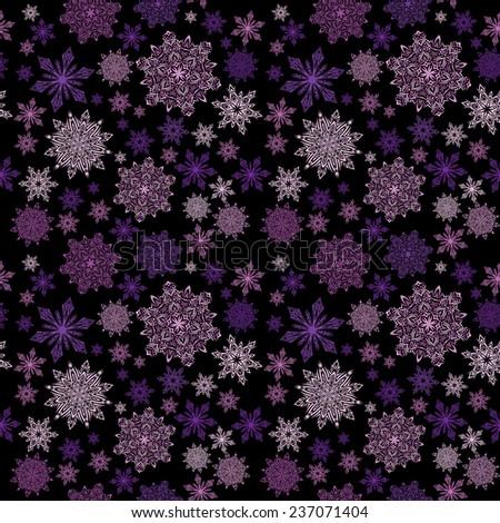 Snowflakes seamless purple pattern, raster version - stock photo