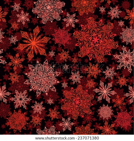 Snowflakes seamless red pattern, raster version  - stock photo