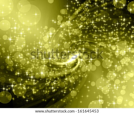 snowflakes , stars and waves golden descending background