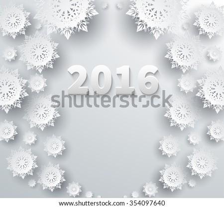 Snowflakes winter and new year, christmas theme. Snow, christmas, snowflake background, snowflake winter. 3D paper snowflakes. Happy New Year 2016. Silver snowflake. Snowflakes shadow. Raster version - stock photo