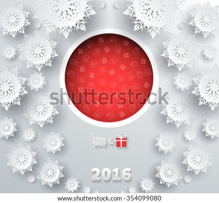 Snowflakes winter and new year, christmas theme. Snow, christmas, snowflake, snowflake winter. 3D paper snowflakes. Happy New Year 2016. Silver snowflake. Snowflakes shadow. Red ball. Raster version - stock photo