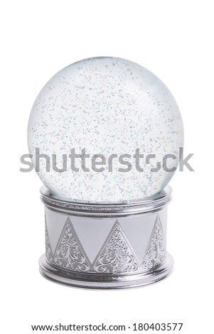 Snowglobe cutout, isolated on white background