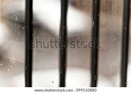 Snowing at the parking lot - stock photo