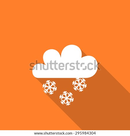 snowing flat design modern icon with long shadow for web and mobile app  - stock photo