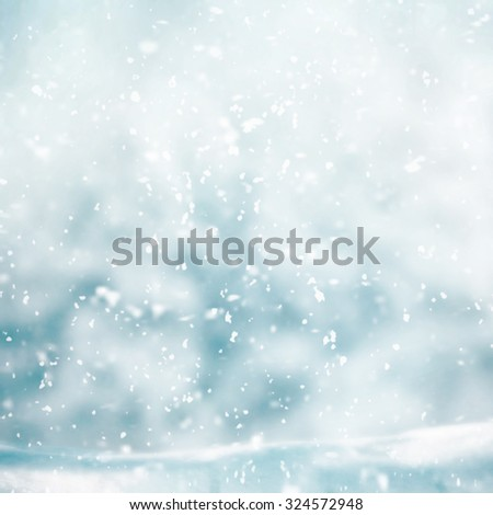 Snowing in winter time  - stock photo