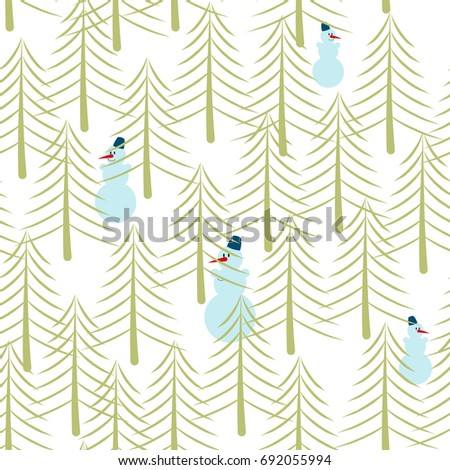 Snowman and Christmas tree seamless pattern. Holiday ornament. New Year texture. Winter forest background
