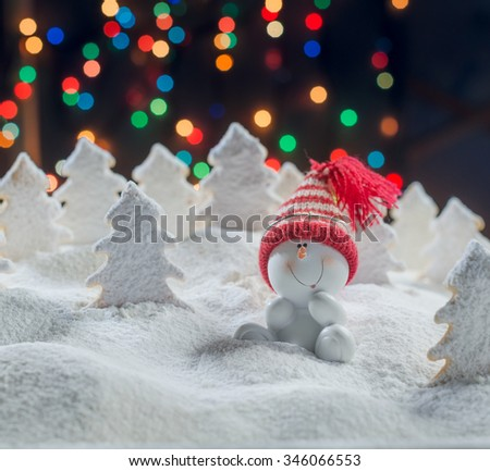 Snowman and Christmas Trees