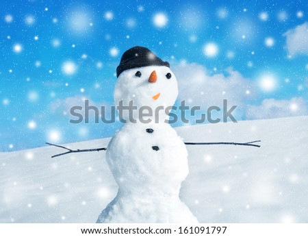 Snowman and pine christmas tree, winter scene