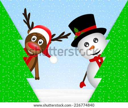 Snowman and reindeer peeking from behind trees in the forest - stock photo