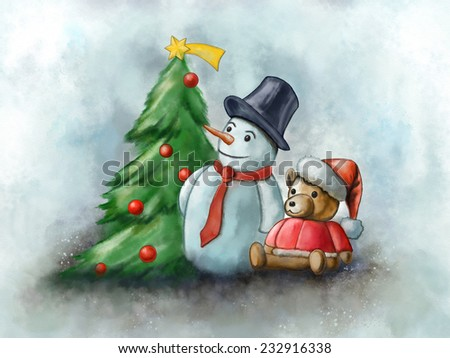 Snowman and toy bear in a Christmas composition. Digital watercolor. - stock photo