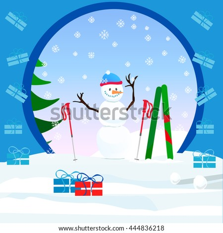 Snowman background illustration card