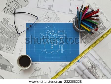 Snowman Blueprint - stock photo