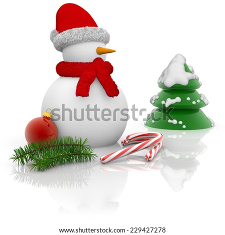 snowman, candy cane and pine on white background - stock photo